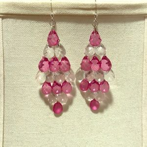 Dangle earrings pink and white